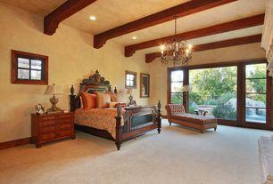 Mediterranean Guest Bedroom with Chandelier, French doors, picture window, Casement, Exposed beam, can lights, Carpet