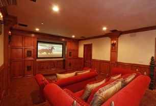 Traditional Home Theater with can lights, Standard height, Crown molding, bedroom reading light, Wainscotting, Carpet