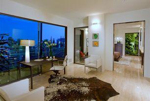 Contemporary Home Office with Glass panel door, picture window, Bamboo floors, Standard height, sliding glass door