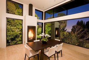 Contemporary Dining Room with metal fireplace, Cartagena Table, Transom window, High ceiling, Hardwood floors