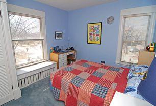 Eclectic Kids Bedroom with Carpet, Window seat