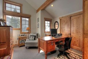 Craftsman Home Office with can lights, Cathedral ceiling, picture window, Carpet, Exposed beam, double-hung window, Barn door