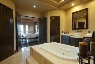Mediterranean Master Bathroom with Vessel sink, Flat panel cabinets, Vinyl floors, Simple marble counters, Flush
