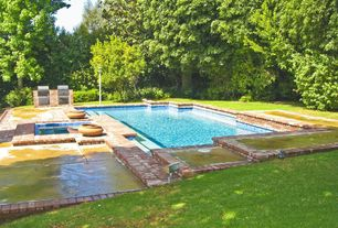 Traditional Swimming Pool with Pool with hot tub, Outdoor kitchen, exterior brick floors