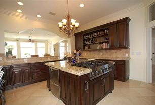 Traditional Kitchen with Crown molding, Large Ceramic Tile, Raised panel, Built-in bookshelf, Kitchen island, U-shaped
