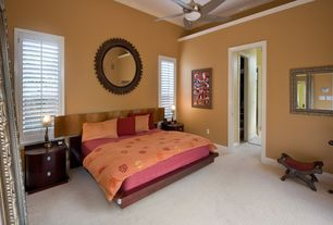 Modern Guest Bedroom with Crown molding, High ceiling, Carpet, Ceiling fan