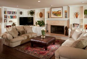 Traditional Living Room with Large Brass Bowl, Brass Planter, Hammered Design Bowl, Drake collection sofa, Crown molding