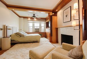 Contemporary Master Bedroom with Crown molding, Exposed beam, Built-in bookshelf, Hardwood floors