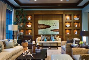 Contemporary Living Room with Built-in bookshelf, Carpet, Crown molding, High ceiling