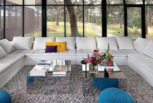 Modern Living Room with Carpet, U-shape sectional, Sunken living room, Safavieh - medley grey textured shag rug, French doors