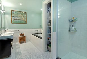 Cottage Master Bathroom with Standard height, European Cabinets, Wall Tiles, ceramic tile floors, Soapstone counters, Shower