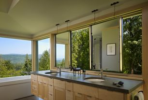 Modern Master Bathroom with Flat panel cabinets, Undermount sink, Master bathroom, Flush, Soapstone counters, Double sink