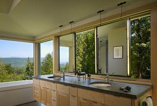 Modern Master Bathroom with Undermount sink, Bathtub, Double sink, Flush, stone tile floors, Soapstone counters
