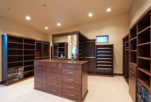 Contemporary Closet with can lights, Carpet, picture window, Built-in bookshelf, Standard height
