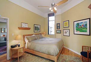 Craftsman Master Bedroom with Chandelier, Built-in bookshelf, Hardwood floors, Ceiling fan