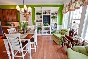Traditional Dining Room with Hard wood floors, full backsplash, Paint, Beckett rocker, lime green, Hardwood floors
