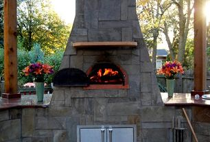 Patio with outdoor pizza oven, Fence