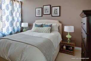 Contemporary Guest Bedroom with JACQUES STACKING SIDE TABLE, Mini Hobnail Table Lamp, Ardley upholstered headboard, Carpet