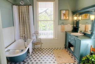 Cottage Full Bathroom with Inset cabinets, Metro Hex Matte White with Flowers Porcelain Floor Tile, Bathtub, Wainscotting