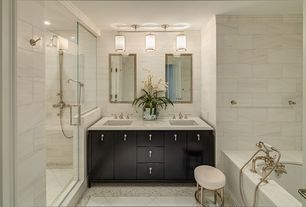 Contemporary Master Bathroom with complex marble tile floors, Quartz countertop, 3 Light Island Pendant, Flush, Double sink