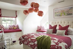 Contemporary Guest Bedroom with Arched window, double-hung window, can lights, Standard height, Built-in bookshelf, Carpet