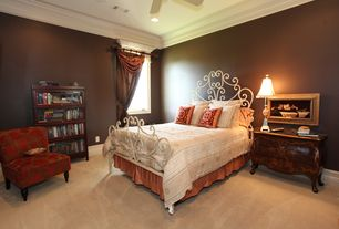 Mediterranean Guest Bedroom with Carpet, Crown molding, Ceiling fan