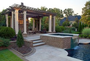 Traditional Hot Tub with exterior stone floors, Fountain, Trellis, Pathway, Pool with hot tub, Fence