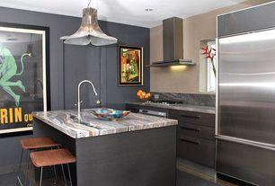 "Contemporary Kitchen with One-wall, Flush, Subzero - 6"" built-in over-and-under refrigerator/freezer, slate tile floors"