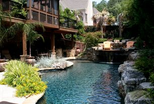 Tropical Swimming Pool with Deck Railing, Fence, Raised beds, Outdoor kitchen, Other Pool Type, picture window