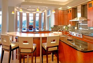 Modern Kitchen with L-shaped, Simple Granite, Pendant light, Breakfast bar, Flush, European Cabinets, Kitchen island