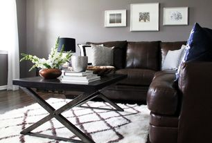 Contemporary Living Room with High ceiling, Louis Sectional, Winsome Korsa Coffee Table with Dark Bronze Legs