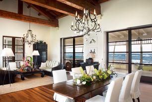 Asian Great Room with Exposed beam, Built-in bookshelf, TRIPOD G5 FLOOR LAMP - WHITE, French doors, Hardwood floors