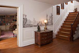 Traditional Hallway with Hardwood floors, Chair rail, Built-in bookshelf, Mural, Standard height, Wainscotting