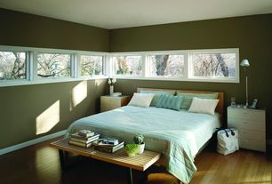 Contemporary Master Bedroom with Paint, Hardwood floors, George nelson slatted bench, Narrow windows, Casement