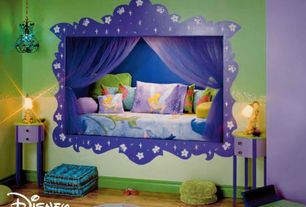 Modern Kids Bedroom with Paint 1, Standard height, Paint 2, interior wallpaper, Hardwood floors, Crown molding, Chandelier