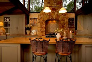 Country Kitchen with Eldorado stone countryside cypress ridge, High ceiling, Pendant light, Chandelier, Built-in bookshelf