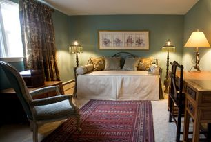 Eclectic Guest Bedroom with picture window, Standard height, Carpet