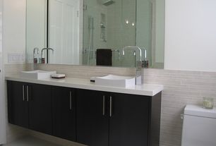Contemporary Master Bathroom with European Cabinets, Corian counters, Master bathroom, Rain shower, frameless showerdoor