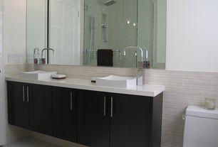 Contemporary Master Bathroom with European Cabinets, Handheld showerhead, frameless showerdoor, Rain shower, Double sink