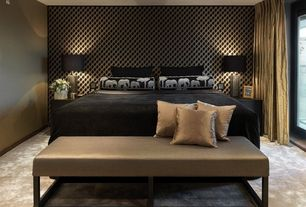 """Eclectic Master Bedroom with Custom Bench Rectangle Bench w/Shelf (H22"""" W36"""" D20""""), interior wallpaper, Carpet"""