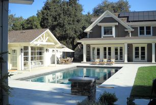 Traditional Swimming Pool with Fence, Casement, Gate, Other Pool Type, double-hung window, Pathway, French doors