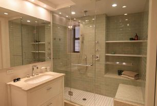 Cottage Master Bathroom with Simple granite counters, three quarter bath, frameless showerdoor, Standard height, Shower