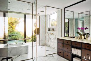 Contemporary Master Bathroom with drop in bathtub, picture window, Handheld showerhead, Bathtub, framed showerdoor, Shower