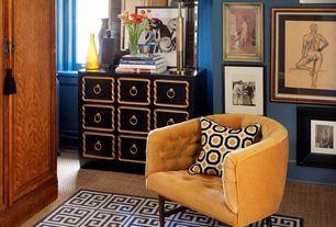 Traditional Living Room with Jonathan Adler Greek Key Black Rug, Oliver Bonas Velvet Tub Chair, Carpet