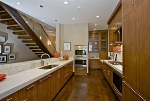 Contemporary Kitchen with Complex Marble, Complex marble counters, European Cabinets, Galley, Pendant light, Flush