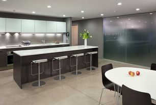 Contemporary Kitchen with One-wall, Flush, Blu Dot - Dining Chair, Graphite on Oak, Freddy Leather Bar Stool White