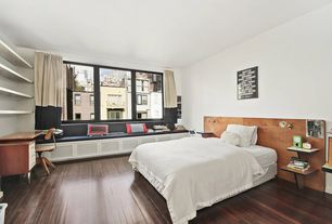 Contemporary Guest Bedroom with Crown molding, Jag Antiques - Antique Murphy Office Desk banker Chair, Hardwood floors