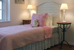 Traditional Kids Bedroom with Westfield cottage white headboard, Hardwood floors, Pottery barn kids lara quilt, pink/coral