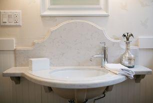 Cottage Full Bathroom with Complex Marble, Undermount bathroom sink, Brewers Flock of Birds Wallpaper, Full Bath