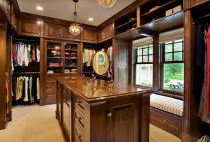 Traditional Closet with Crown molding, Built-in bookshelf, Window seat, Carpet, can lights, Pendant light, Standard height